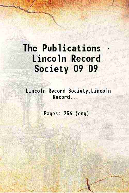 The Publications - Lincoln Record Society 09 09