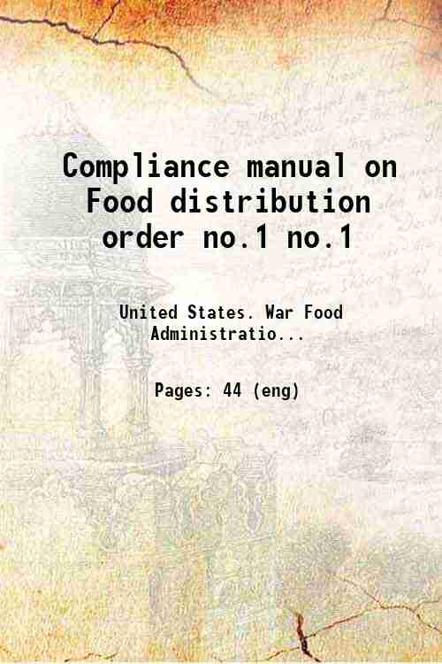 Compliance manual on Food distribution order no.1 no.1
