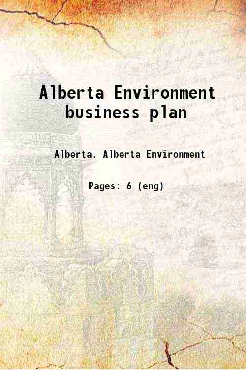 Alberta Environment business plan