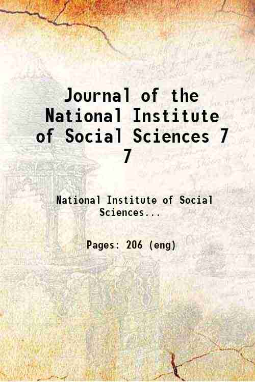 Journal of the National Institute of Social Sciences 7 7