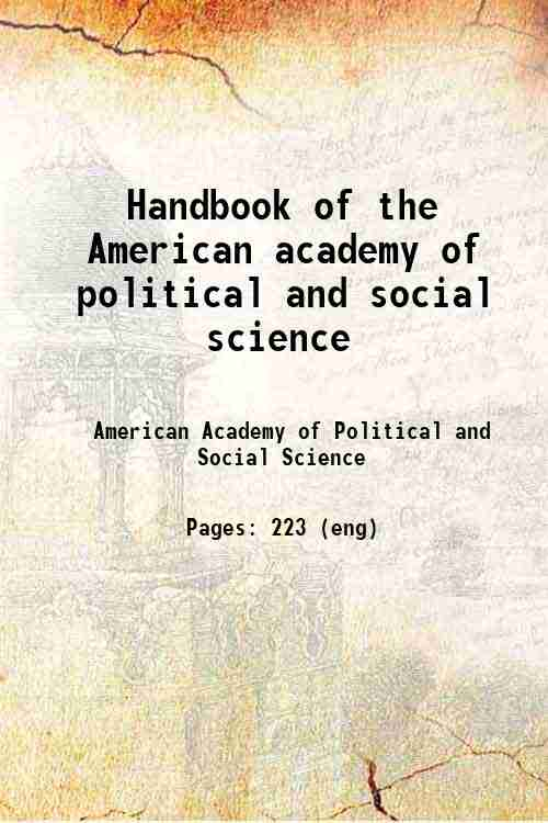 Handbook of the American academy of political and social science