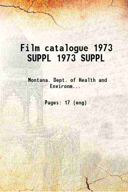 Film catalogue 1973 SUPPL 1973 SUPPL