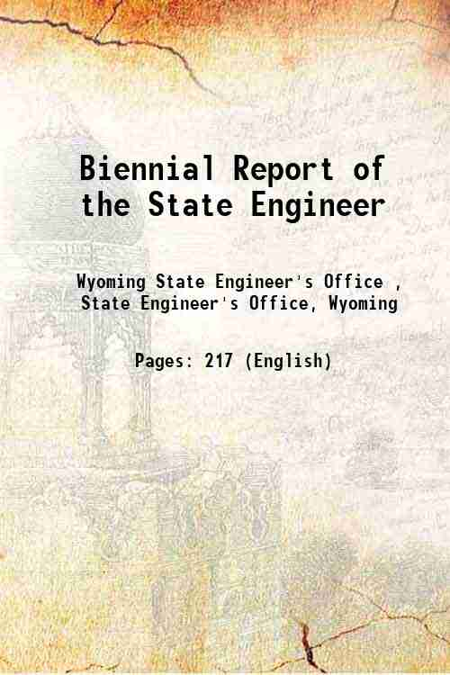 Biennial Report of the State Engineer