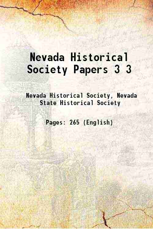 Nevada Historical Society Papers 3 3