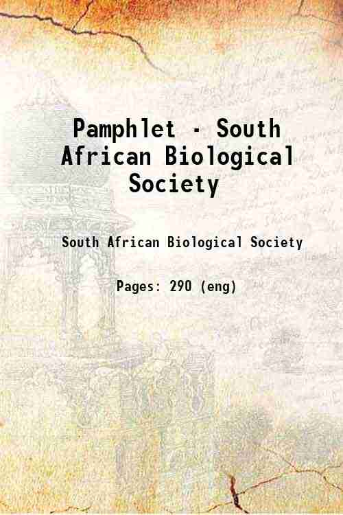 Pamphlet - South African Biological Society
