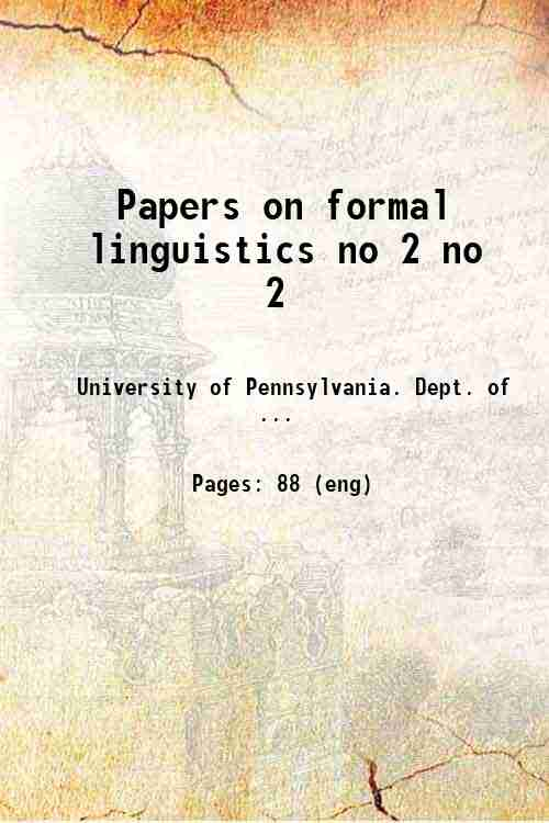 Papers on formal linguistics no 2 no 2