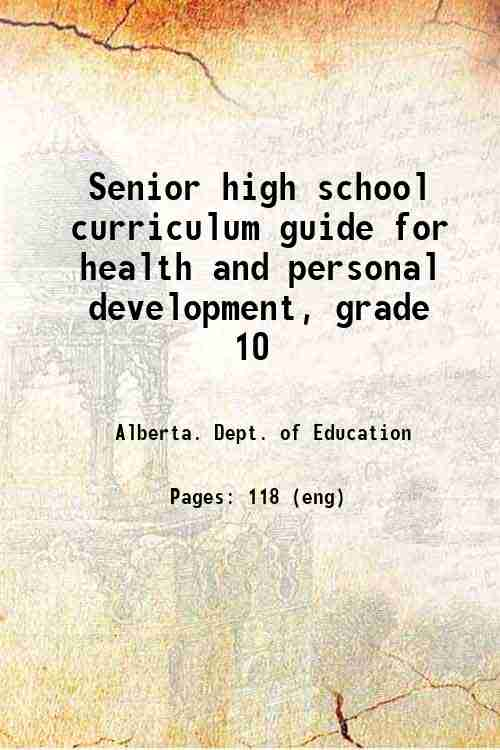 Senior high school curriculum guide for health and personal development, grade 10
