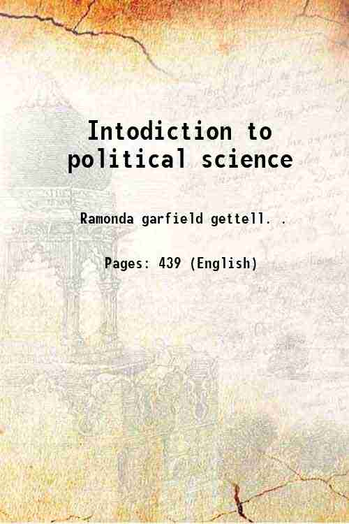 Intodiction to political science