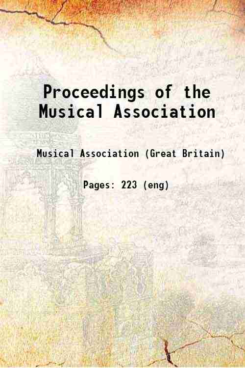 Proceedings of the Musical Association
