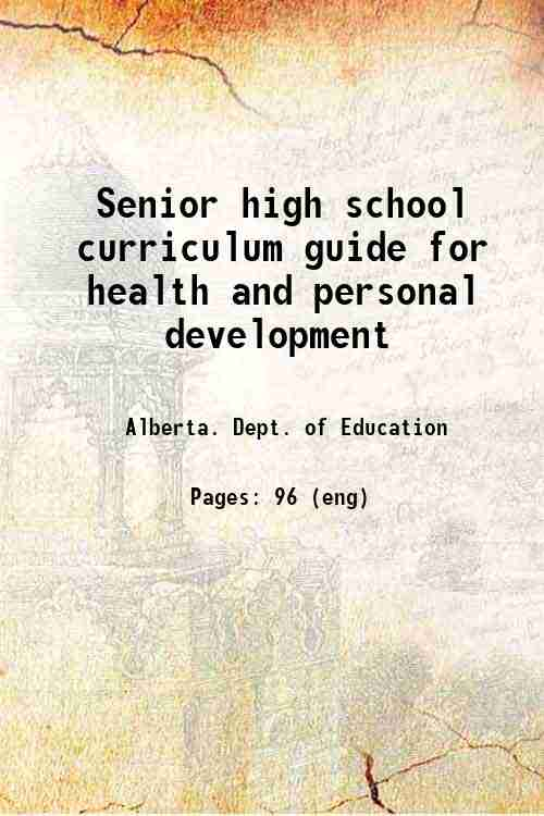 Senior high school curriculum guide for health and personal development