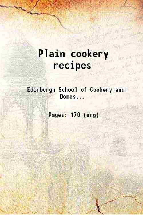 Plain cookery recipes