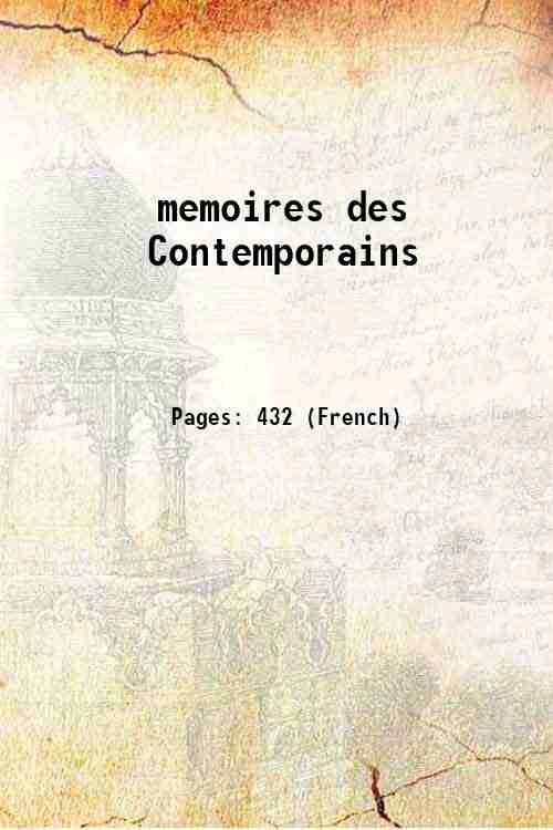 memoires des Contemporains