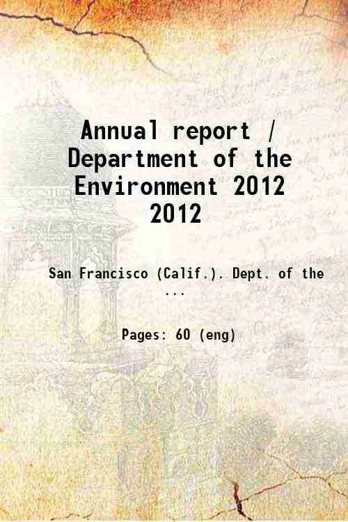 Annual report / Department of the Environment 2012 2012