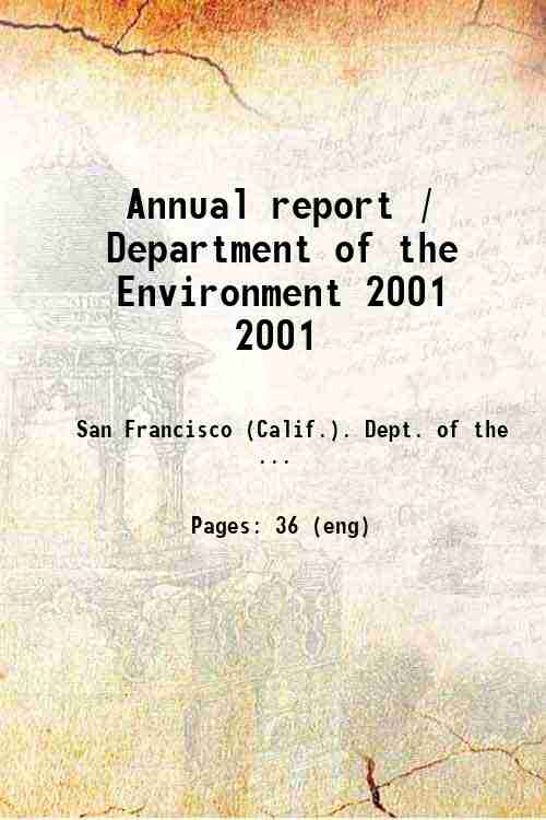 Annual report / Department of the Environment 2001 2001