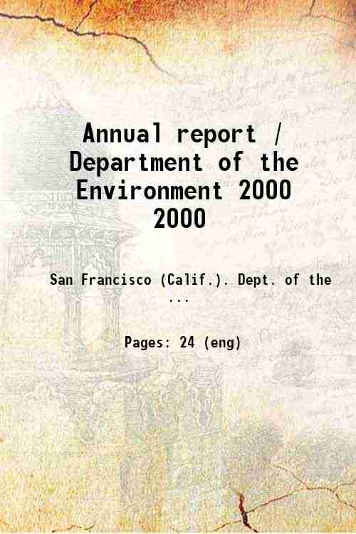 Annual report / Department of the Environment 2000 2000
