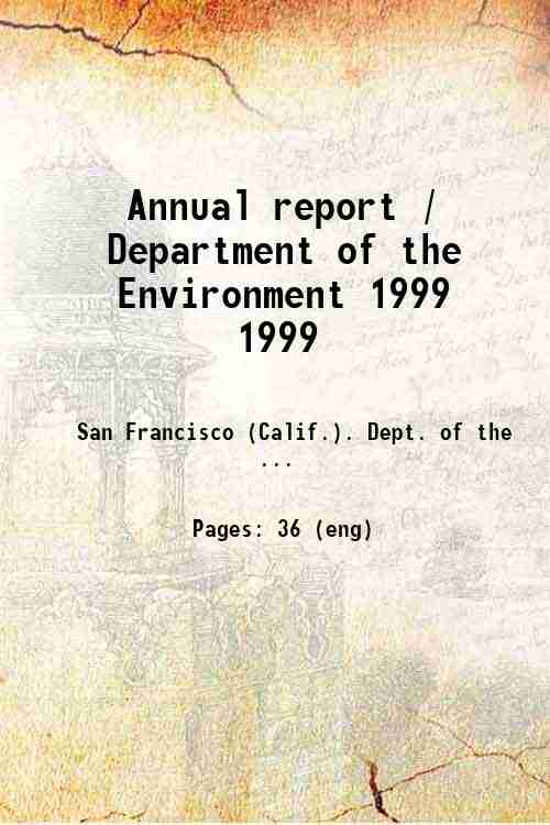 Annual report / Department of the Environment 1999 1999