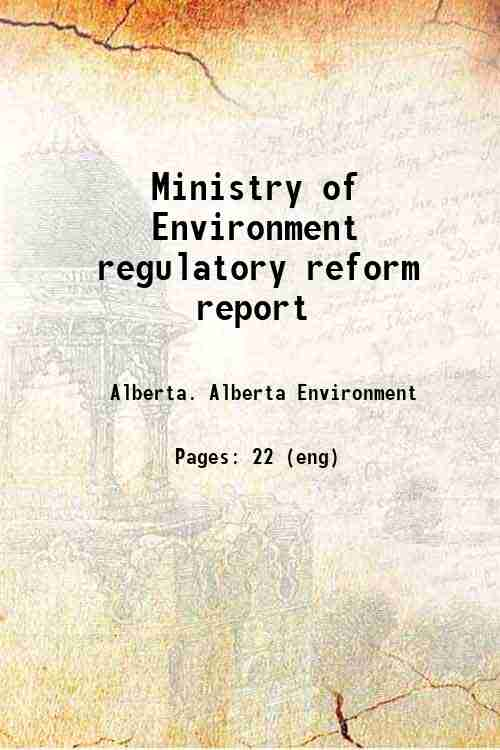 Ministry of Environment regulatory reform report
