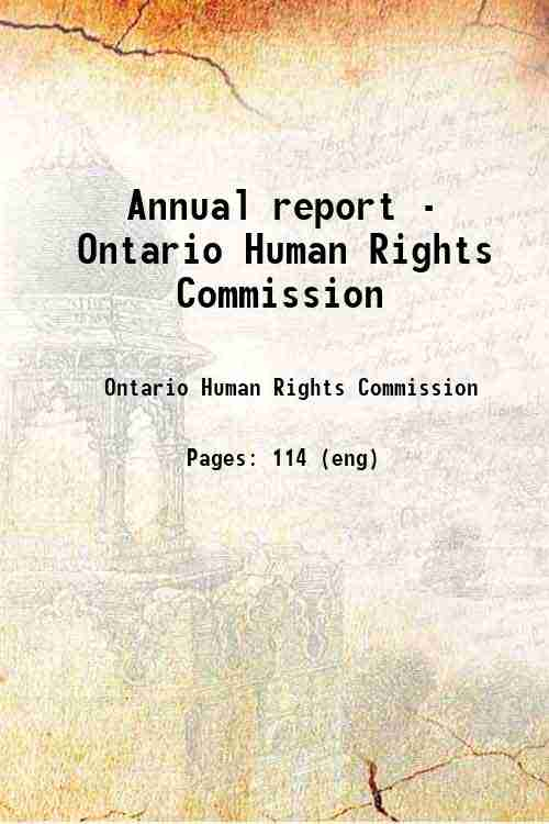 Annual report - Ontario Human Rights Commission