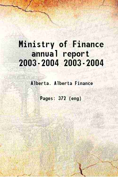 Ministry of Finance annual report 2003-2004 2003-2004