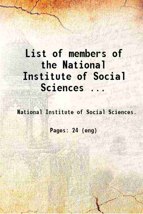 List of members of the National Institute of Social Sciences ...