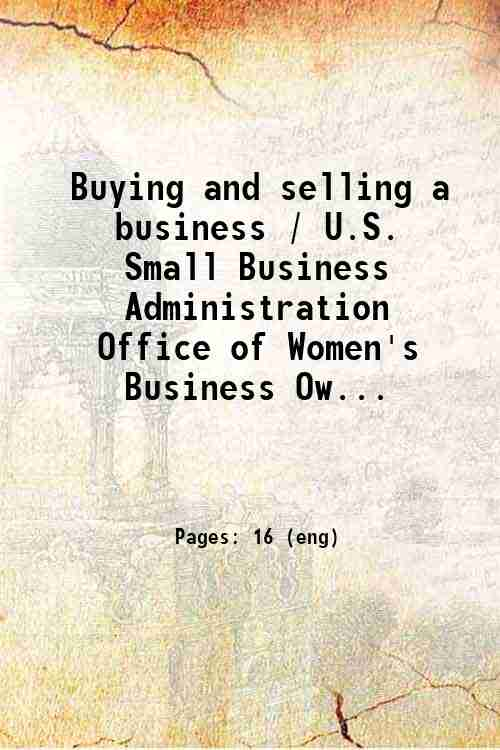 Buying and selling a business / U.S. Small Business Administration  Office of Women's Business Ow...