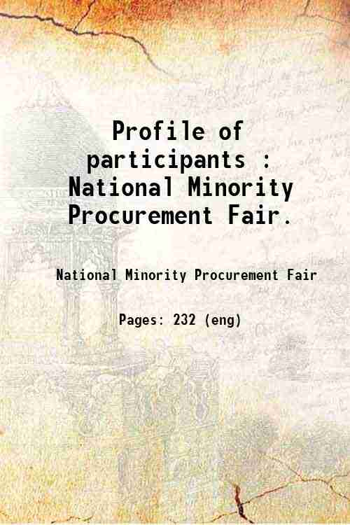 Profile of participants : National Minority Procurement Fair.