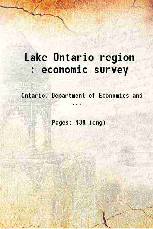 Lake Ontario region : economic survey