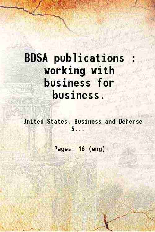BDSA publications : working with business for business.