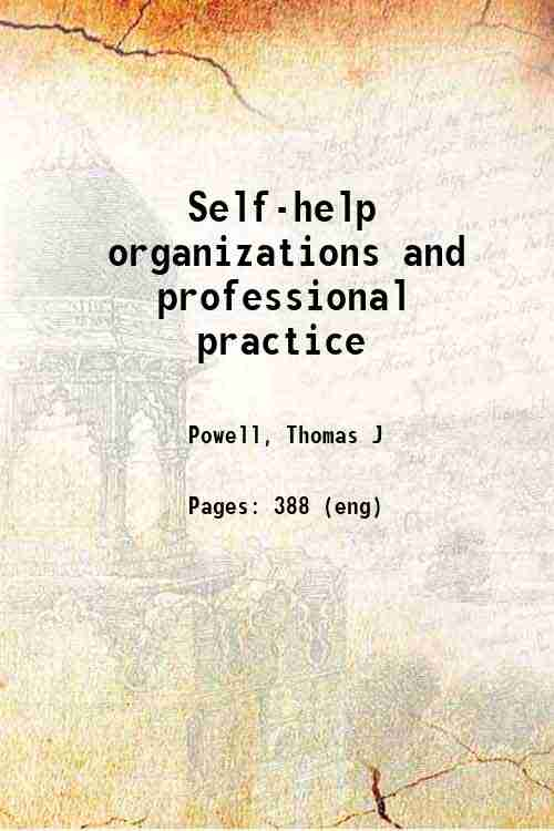Self-help organizations and professional practice
