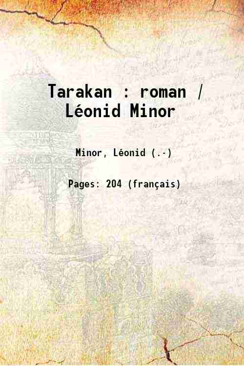 Tarakan : roman / Léonid Minor